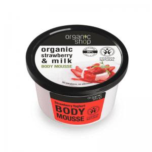 Organic Shop Kosteuttava mansikkajogurtti vartalomousse 250 ml